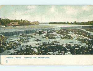 Undivided WATERFALL & BUILDING Lowell Massachusetts MA v3145