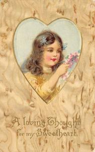 Valentine~Brundage or Andrews Girl in Heart Vignette~Woodgrain Back~Emboss~1905