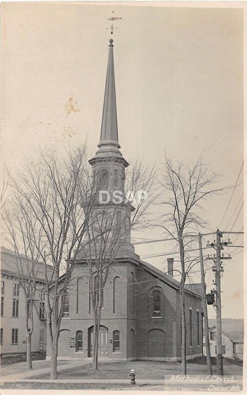 A4/ Dover Maine Me RPPC Real Photo Postcard c1910 Methodist Church
