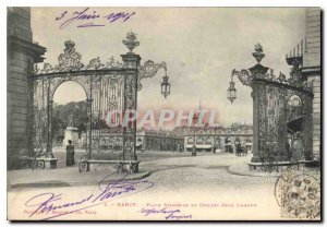 Old Postcard Nancy Place Stanislas and grid Jean Lamour
