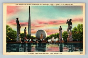 1939 New York World's Fair - Trylon and Perisphere, Statues of Freedom Postcard