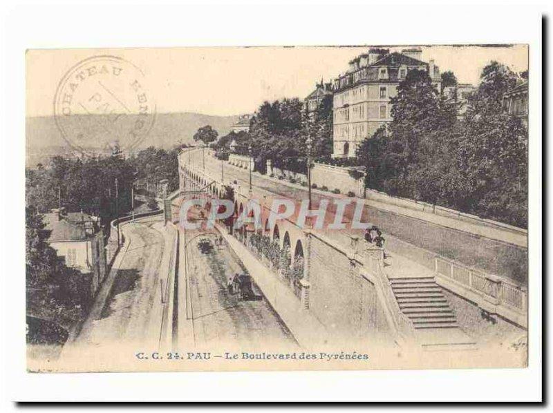 Pau Old Postcard the Pyrenees Boulevard