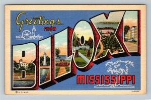 BILOXI MS-Mississippi, LARGE LETTER GREETING, Advertising Linen Postcard