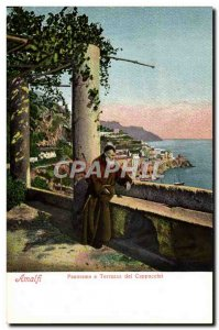 Old Postcard Amalfi Panorama E Terrazza dei Cappuccini Monk