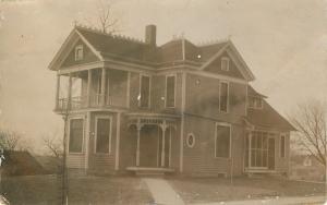 Pretty Home: Corner Porch~Overhang 2nd Story Deck~Sun Room~Round Window c1910 PC