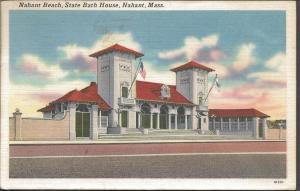 Vintage Linen Art Painting Postcard Nahant Beach State Bath House NAHANT Mass.