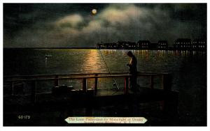 New Jersey  Wildwood  , Grassy Sound  Fisherman   at night