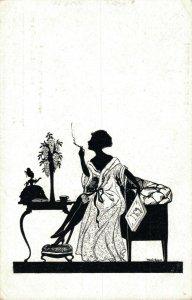 Art Deco Silhouette Lady Smoking Vintage Postcard 06.74