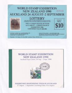 New Zealand Auckland 1990 Stamp Exhibition Orchid Lottery 3x Ephemera