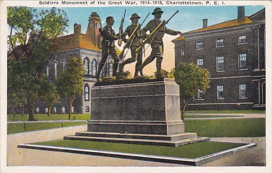 Canada Charlottetown Soldiers Monument of the Great War 1914-18 Prince Edward...