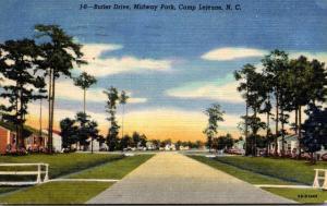 North Carolina Camp Lejeune Midway Park Butler Drive 1953 Curteich