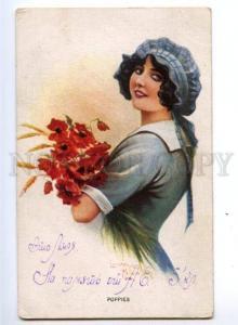 149328 BELLE w/ Flowers Poppy by Laurence MILLER vintage PC