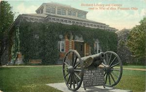 Fremont Ohio~Birchard Library and Old Betsy, War of 1812 Cannon~1909 Postcard