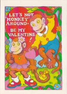 Valentines Day Monkeys With Red Heart Anna Pomaska