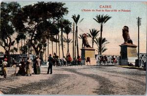 Caire, Egypt - Entrance of Kasr-el Nil Bridge & Palm Trees Blue stamp c16