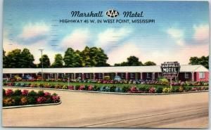 West Point, Mississippi Postcard MARSHALL MOTEL Highway 45 Roadside Linen 1954
