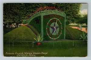 Detroit MI-Michigan, Floral Clock, Water Works Park, Vintage c1910 Postcard