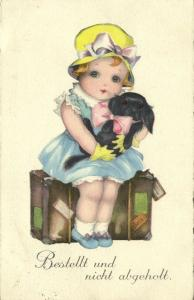 Little Girl with Dog on Suitcase Left Alone (1929) HWB Albaster Series 3603