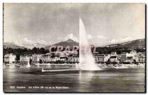 Switzerland Postcard Old Geneva Jet d & # 39eau and Mont Blanc