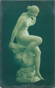 Early art postcard nude in sculpture Herzig > Echo