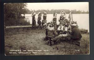 1938 Real Picture Postcard Native American Indian Drums Dancing Wisconsin cover