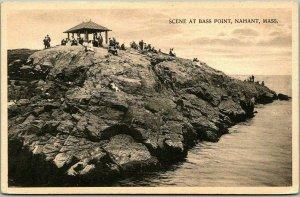 1910s Nahant, Massachusetts Postcard SCENE AT BASS POINT Rocks / Ocean View
