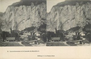 Postcard Stereographic image Switzerland Suisse Lauterbrunnen