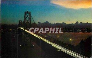 Postcard Modern San Francisco Bay Bridge at Night