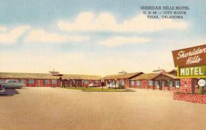 Tulsa Oklahoma Sheridan Hills Motel Linen Antique Postcard K30680