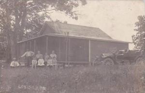 Michigan Long Lake Cabin With Old Car 1913 Real Photo RPPC