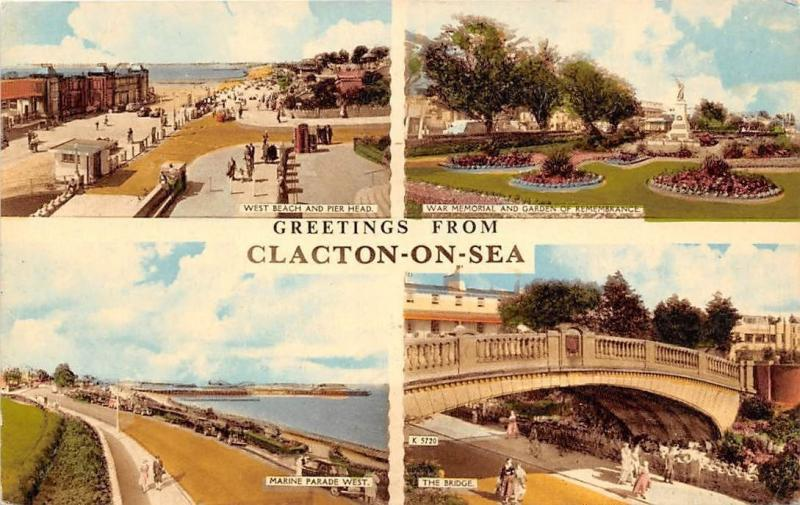 Greetings from Clacton on Sea The Bridge Marina Parade War Memorial West Beach