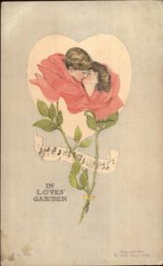 John Cecil Clay Flower-Head Fantasy Romance In Loves' Garden c1905 Postcard