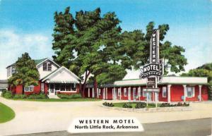 North Little Rock Arkansas Western Motel Street View Vintage Postcard K90861