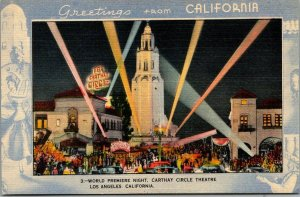 Los Angeles, CA Postcard CARTHAY CIRCLE THEATRE World Premiere Night Linen