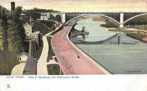 View of Speedway & Washington Bridge, Manhattan, N.Y.C., Early Postcard, Unused