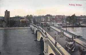 LONDON, England, 1900-1910´s; Putney Bridge, Classic Cars, Double Decker Bus
