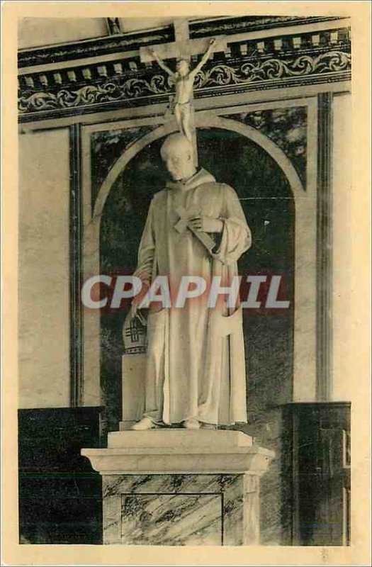 Postcard Old Monastery of the Grande Chartreuse room large statue of St. Brun...