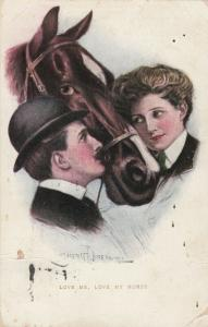 AS; UNDERWOOD, 1909; Love me, Love my Horse, Man, Woman & Horse; TUCK # 2829