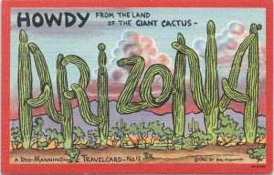 Large Letter Howdy from the land of the Giant Cactus-Reg Manning Travel Card 12