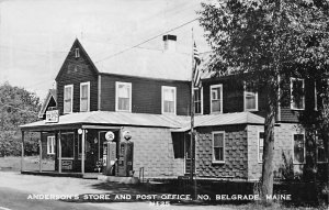 North Belgrade Lakes ME Anderson's Store & Post Office Texaco Gas Pumps RPPC