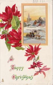 Tucks Happy Christams With Poinsettias 1912