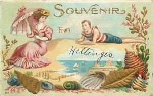 Artist impression Beach Bathers Romance Shell Border C-1910 Postcard 20-4206