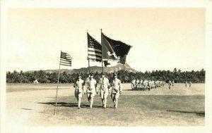 Diamond Head Soldiers Parade Military Hawaii RPPC Photo Postcard Flags 20-1122