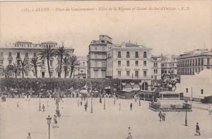 Algeria Alger Place du Gouvernement Hotel de la Regence et Statue du duc d'Or...