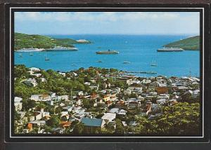 Bird's Eye View St Thomas US Virgin Islands Postcard BIN