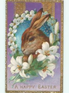 Pre-Linen Easter CUTE BUNNY RABBIT FACE WITH LILY FLOWERS AB3721