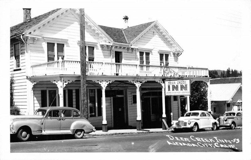 DEER CREEK INN Nevada City, California Hotel RPPC ca 1950s Vintage Postcard