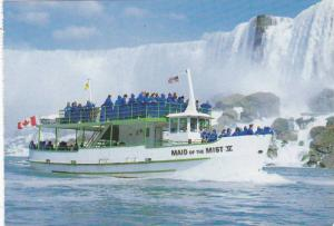 The Maid Of The Mist Tour Boat With The American Falls In The Background, N...