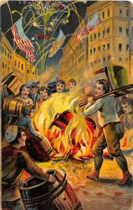 F64/ Patriotic Postcard c1910 Fourth of July 4th Fireworks Bonfire 10