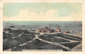 New York City~Aquarium & Battery Park~Ships/Boats in Harbor~Bare Trees~1920s Pc